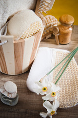 Set of spa accessories on wooden background © Igor Sokolov