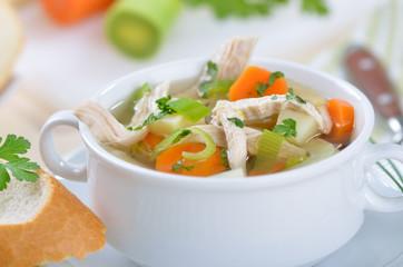 Leckere Hühnersuppe mit Gemüse