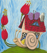 Snail carries its home