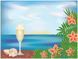 Tropical card with champagne, vector illustration