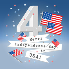 Festive USA independence day greeting card
