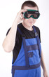 Young construction worker with protective eyewear