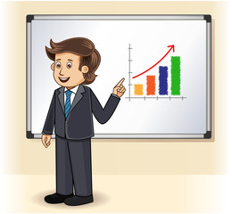 A businessman presenting profits on a whiteboard