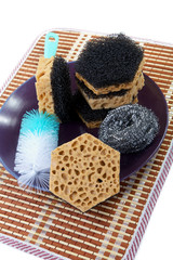 Still-life with sponges for washing of ware