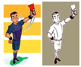 referee give a red card sketch and colour