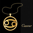 Cancer Necklace, Chain, gold silhouette astrology symbol