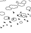 vector  flock of flying birds and clouds in the sky