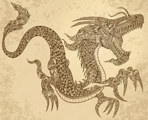 Henna Tattoo Tribal Dragon Doodle Sketch Vector