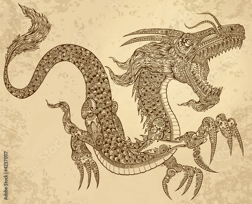 Henna Tattoo Tribal Dragon Doodle Sketch Vector