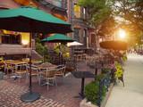 Scenic Cafe Terraces in Newbury Street, Boston, USA poster