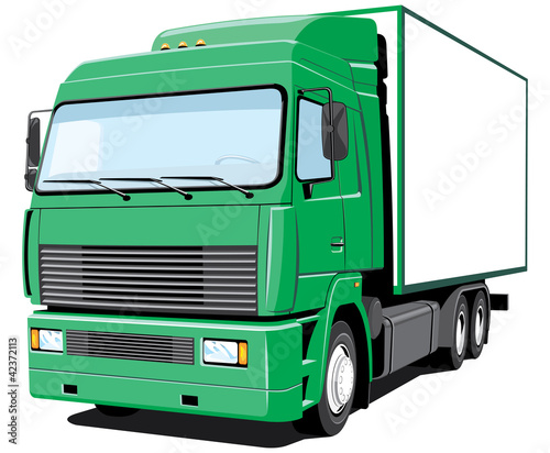Vector green delivery truck
