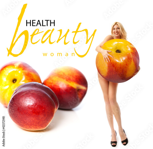 Portrait of a young woman with fruit. Concept