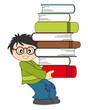 Niño llevando un lote de libros