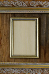 vintage frame on wooden wall interior element