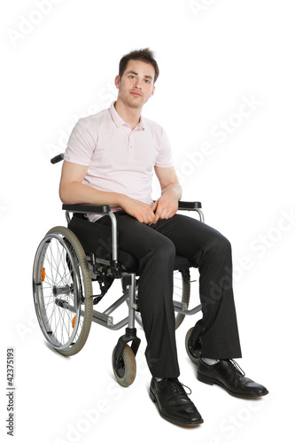 Young professional in wheelchair front view