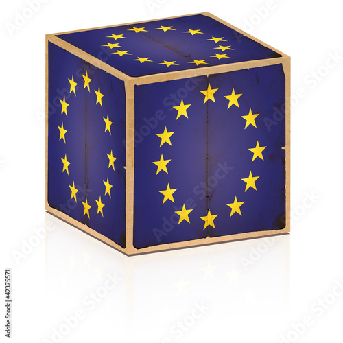 old box europe flag on it