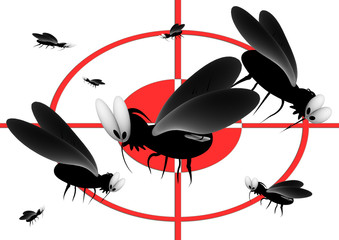 blood thirsty mosquitoes under a repellent sight