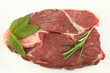 Raw Lamb steak with mint and Rosemary