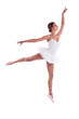 Young Caucasian ballerina jumping against white