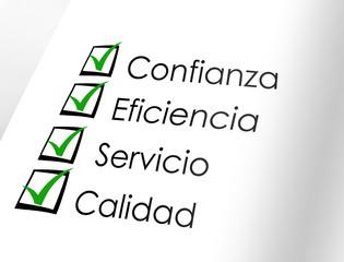 Confianza - eficiencia - servicio - calidad