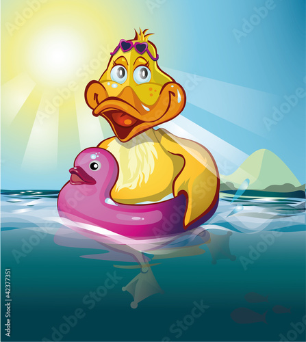 Poster Rivier, meer duck swims