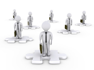 Businessmen on puzzle pieces in various positions