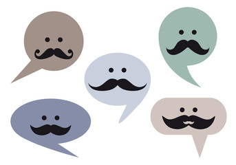 speech bubble faces with moustache, vector