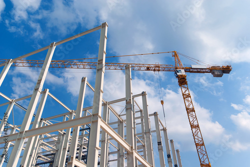 Construction of building a beautiful sky background - 42379326