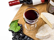 Red wine, grape, Brie and Camembert cheeses, isolated on white