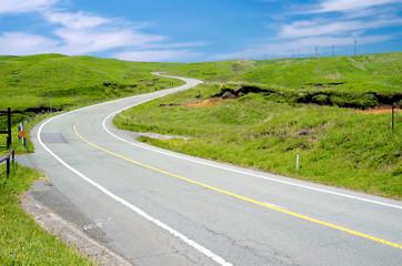 高原の中の道