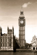 Vintage view of Big Ben clock tower London. Sepia toned.