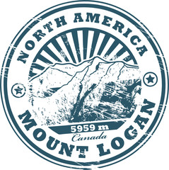stamp with the Mount Logan, highest mountain peak in Canada