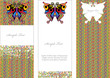 vector cards with colorful squares,butterfly and place for text