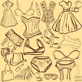 artistic woman underwear and clothes