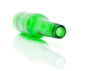 empty bottle of green on a white background