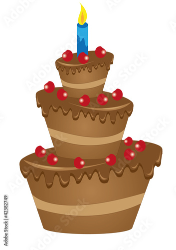 vector drawing of a large chocolate cake with cherries