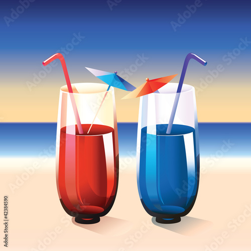 Two cocktails on summer beach