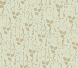 seamless pattern with plant motifs in retro style