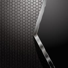 Metallic backdrop with hexagon grid and copyspace - eps8