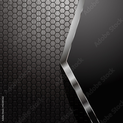 Metallic backdrop with hexagon grid and copyspace - eps8