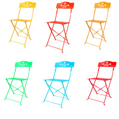 colorful of metal chairs isolated on white