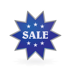 dark blue button to sale shine star sticker
