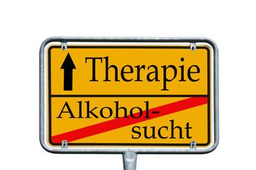 Ortsschild Alkoholsucht / Therapie