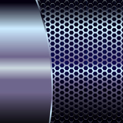 Blue metallic background with hexagon grid and copyspace - eps8