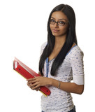 Pretty young female student holding study supplies