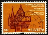 Postage stamp Switzerland 1975 European Architectural Heritage Y poster