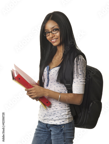 Pretty smilinf female student going to school