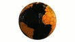world globe black and orange