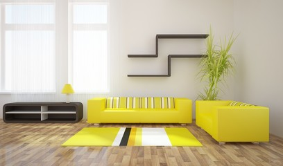 Ilustracja yellow interior design