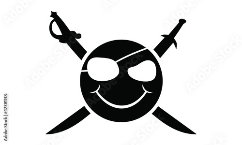 Tribal pirate smiley / vector tattoo